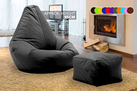 UK Beanbags - Highback beanbag with matching footstool, perfect for indoors and outdoors choose from 11 bright colours - Save 72%