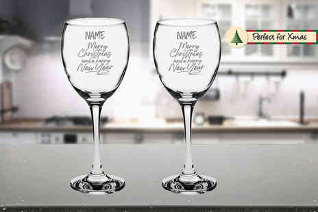 CNC Group - Personalised engraved Christmas wine glass in a gift box - Save 50%