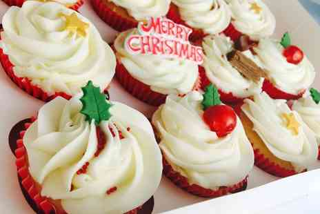 GlamoRose Cakes - Box of 12 Mince Pie or Vanilla Flavoured Christmas Cupcakes - Save 0%