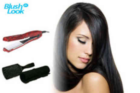 Blushlook.com - Hair styling set including ceramic straighteners, paddle brush and heat mat - Save 68%
