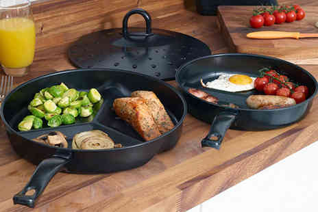 Grids London - Three piece non-stick divider frying pan set - Save 77%