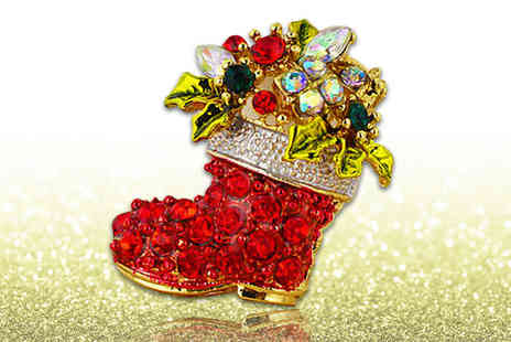 Alvis Fashion - Christmas boot brooch made from crystals by Swarovski - Save 90%