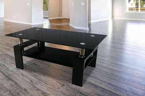 Home Empire - Black glass coffee table with lower shelf - Save 74%
