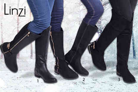Linzi - Pair of long winter boots choose from three styles - Save 56%