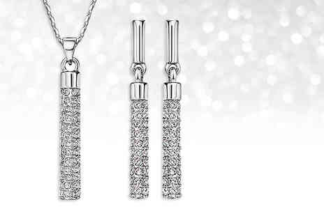 Fakurma - Crystal bar drop pendant and earrings set choose between silver and gold - Save 0%