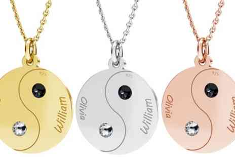 Jewells House - One, Two or Three Personalised Split Yin Yang Necklace Sets with Crystals from Swarovski With Free Delivery - Save 54%