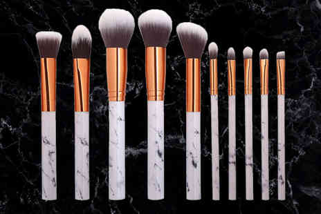 Alvis Fashion - Set of 10 white marble effect makeup brushes - Save 86%