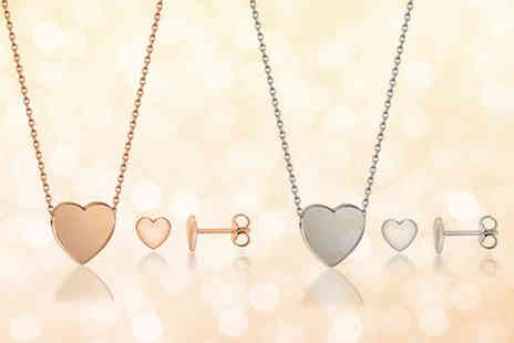Fakurma - Heart earring and pendant necklace set choose from two colours - Save 80%