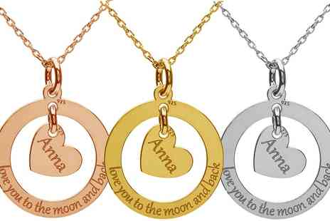 Jewells House - One, Two, or Three Personalised Sterling Silver Circle of Love with Heart Necklaces - Save 68%