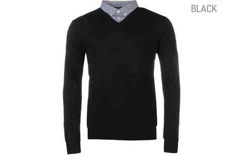 Blu Apparel - Pierre Cardin Mock V Neck Jumpers Available in 6 Colours - Save 50%