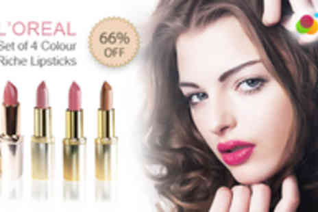 JustShe Cosmetics - Set of Four LOreal Colour Riche Lipsticks - Save 66%