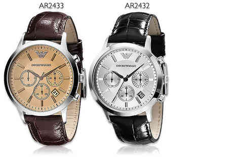 Wristy Business - Mens Emporio Armani black AR2432 or brown AR2433 watch - Save 60%