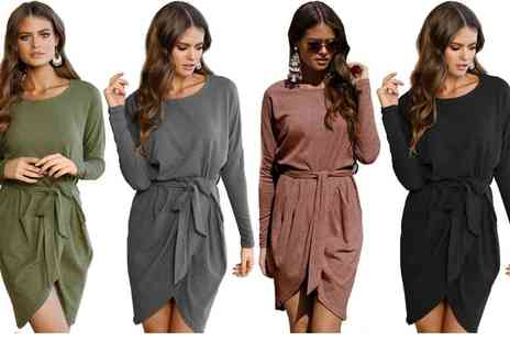 Dress Room - Wrap front dress available in black, brown, grey and khaki - Save 0%