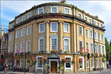 The Royal Hotel - One or two night Bath stay with breakfast, glass of champagne, bottle of wine, three course dinner and cream tea for two - Save 38%