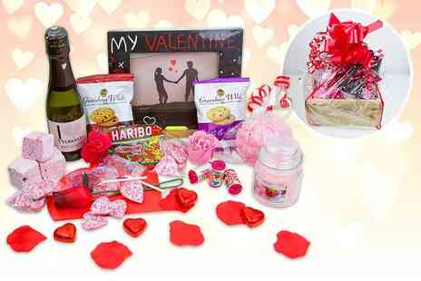 Black Cat Hampers & Gifts - Valentines hamper including sweet treats, a photo frame, prosecco, a candle and a bath bomb - Save 53%