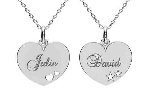 Jewells House - One, Two or Three Engraved Valentine Heart Necklaces With Free Delivery - Save 69%