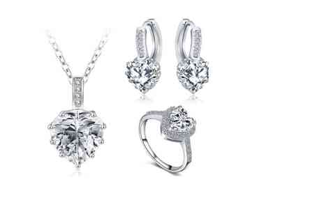 Fakurma - Cubic zirconia heart tri set choose from three colours - Save 94%
