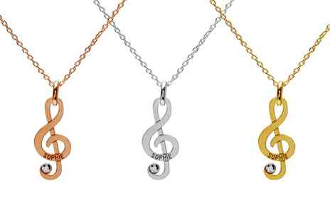 Jewells House - One, Two or Three Treble Clef Necklaces with Crystals from Swarovski With Free Delivery - Save 74%