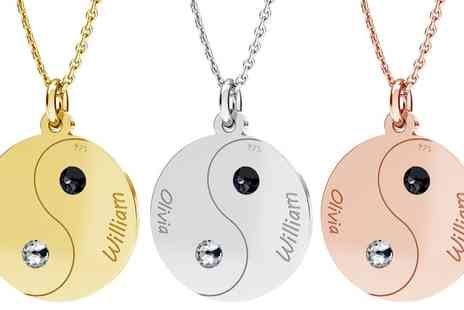 Jewells House - One, Two or Three Personalised Split Yin Yang Necklace Sets with Crystals from Swarovski With Free Delivery - Save 65%
