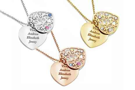 Jewells House - One, Two, or Three Personalised Two Heart Necklaces with Crystals from Swarovski With Free Delivery - Save 68%