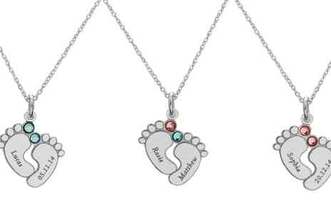 Jewells House - Personalised Baby Feet Crystals And Engrave Necklace With Free Delivery - Save 79%