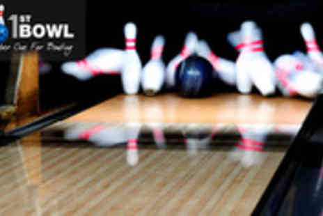 1st Bowl - Bowling for four people of two games and snacks - Save 66%
