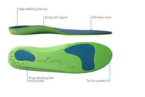 Sole Control - Pair of orthotic insoles, two pairs choose from three colours - Save 82%