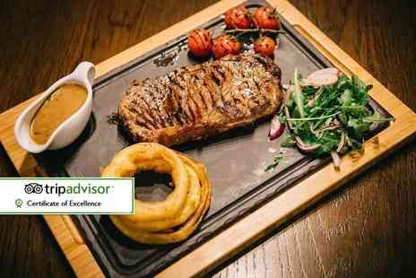 Solo Restaurant plus Bar - 8oz rump steak dining for two with a salad, side dish and sauce each - Save 51%