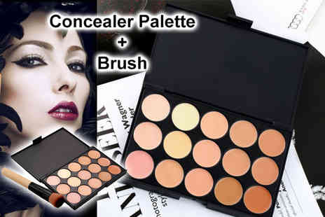 TMD Global - 15 colour concealer palette with brush - Save 73%