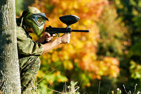 Skirmish Paintball - Paintballing day for up to 10 people with 100 balls each - Save 91%