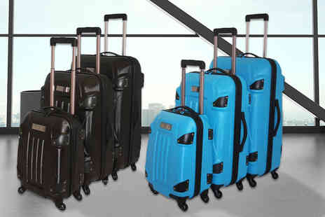 Pearl Info - Three hard shell suitcases choose from four colours - Save 73%