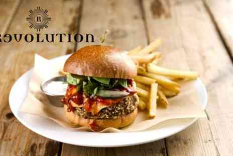 Revolution Bars - Pizza or Burger with Cocktail for Up to Four - Save 57%