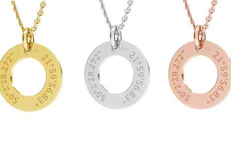 Jewells House - One, Two or Three Personalised Latitude Longitude Necklaces with Crystals from Swarovski With Free Delivery - Save 75%
