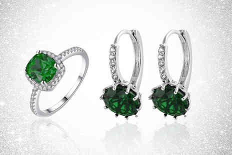 Gemnations - Green crystal halo style ring and earing set - Save 81%