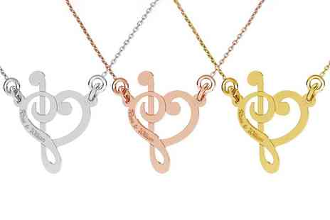 Jewells House - One, Two, or Three Personalised Sterling Silver Treble Clef Necklaces With Free Delivery - Save 72%
