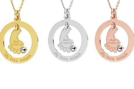 Jewells House - One, Two or Three Personalised Baby Foot with Crystal Necklace With Free Delivery - Save 70%