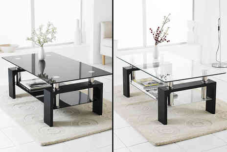 Home Empire - Glass coffee table with lower shelf - Save 75%