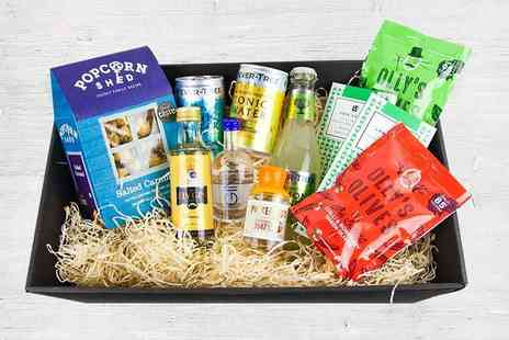 Borough Box - Big Night Gin Hamper, including gin, tonic and snacks - Save 42%