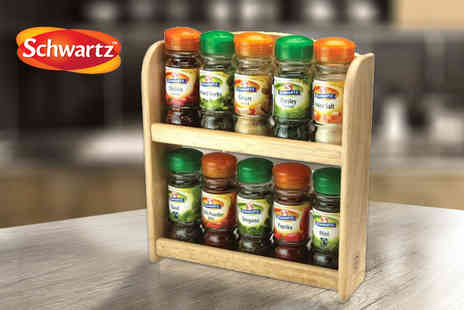 Grids London - Schwartz spice rack with 10 jars - Save 55%