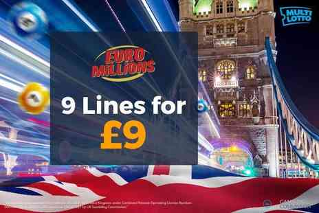 Multilotto UK - 9 EuroMillions lottery lines - Save 60%