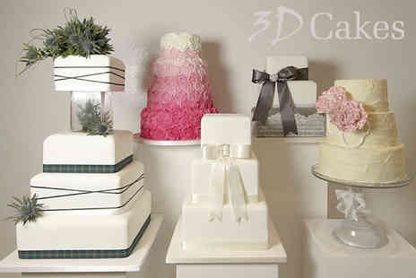 3D Cakes - Three tier bespoke wedding cake from award winning designer David Duncan at 3D Cakes - Save 71%