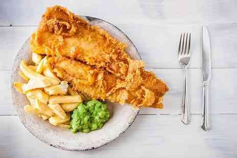 Blue Eyed Maid - Fish and chips for two people with a glass of wine or beer each - Save 62%
