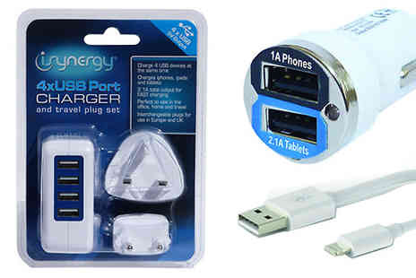 AMS Global - Three Piece Phone Charger Travel Pack - Save 78%