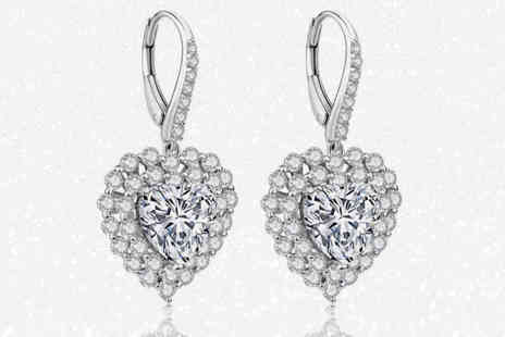 GameChanger Associates - Pair of heart drop earrings made with crystals from Swarovski - Save 88%