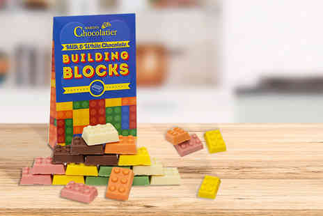 Martins Chocolatier - Pack of 18 milk and white chocolate building blocks - Save 71%