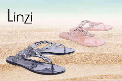 Linzi - Pair of diamante embellished jelly sandals - Save 40%