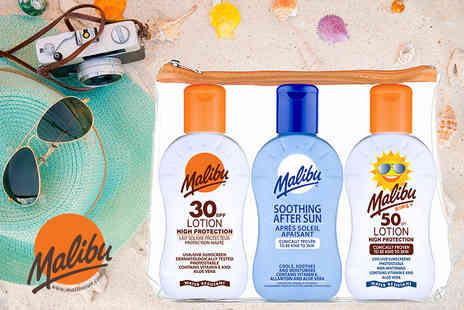 Malibu Health Products - Sun bodycare travel bag for kids get a 100ml sun tan lotion, a 100ml kids sun tan lotion and a 100ml after sun while - Save 40%