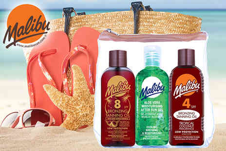 Malibu Health Products - Malibu sun fast tanning travel set get a 100ml SPF4 tanning oil, a 100ml SPF8 tanning oil and a 100ml aloe vera after sun gel while - Save 23%