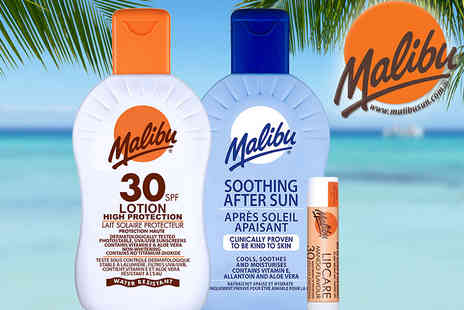 Malibu Health Products - Sun skincare weekend pack get a 100ml 30 SPF sun tan lotion, 100ml soothing after sun and lip balm - Save 44%