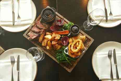 Hilton Canary Wharf - Roasting board dinner and bottle of wine to share for two - Save 61%